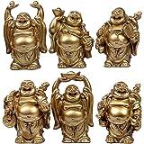 6pcs Resin Statue Laughing Buddha Laughing Buddha Statue Figurines Lucky Buddha Happy Buddha Feng Shui Buddha Laughing Buddha