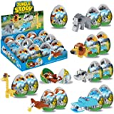 Set of 12 Wild Animal Figurines 3D Puzzle Building Blocks Bricks in Toys Surprise Eggs, Educational Assembly Kits for Kids Pa