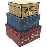 CVHOMEDECO. Primitives Vintage Square Cardboard Nesting Boxes for Photos Memories Keepsakes and Season Decor, Large 9 X 9 X 4