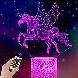 FULLOSUN Unicorn Beside Lamp 3D Optical Illusion Night Light,16 Colors Changing Remote Control Nightlight, Unique Room Decor