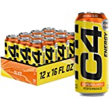 C4 Energy Carbonated Zero Sugar Energy Drink, Pre Workout Drink + Beta Alanine, Orange Slice, 16 Fl Oz (Pack of 12)