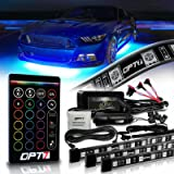 OPT7 Aura Underglow for Cars, 4pc Flexible LED Strip Lighting Kit (2 x 48 inch + 2 x 36 inch) w/Remote, Soundsync, Full-Color