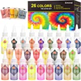 DIY Tie Dye Kits, Emooqi 26 Colors Fabric Dye Art Set with Rubber Bands, Gloves, Spoon, Funnel, Apron and Table Covers for Cr