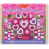 Melissa & Doug Shimmering Hearts Wooden Bead Set: 45 Beads and 3 Laces for Jewelry-Making