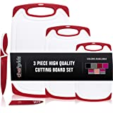 CHEF GRIDS Durable Plastic Cutting Board Set 3 Piece Chopping Board Thick Plastic, for Vegetable Meat or Cheese with Non-Slip