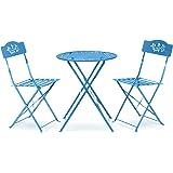 Alpine Corporation 3-Piece Floral Bistro Set - Outdoor Conversation Set for Patio, Yard, Garden - Blue