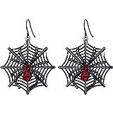 Flyonce Black Spider Web Dangle Hook Earrings for Women Girls Gothic Vintage Style Halloween Gift