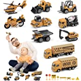 Small Construction Vehicle Toys, 10 Diecast Construction Vehicles For Kids With 8 Road Sign, Excavator Digger Bulldozer Dump