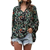 Kikibell Women Sexy V Neck Boho Floral Print V Neck Long Sleeve Drawstring Blouse Tops