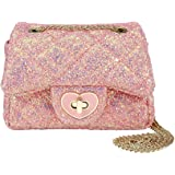 CMK Trendy Kids Glitter Toddler Purse for Girls Sparkly Quilted Little Girl Purses (80001_Chunky Pink), 15cm(L) x 7.5cm(W) x