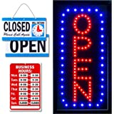 Ultima LED Neon Open Sign for Business: Vertical Lighted Sign Open with Flashing Mode – Indoor Electric Light up Sign for Sto