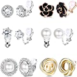 YADOCA 6 Pairs Clip Earrings for Women Rose Flower CZ Simulated Freshwater Pearl Twist Knot Non Pierced Clip On Earrings Hypo