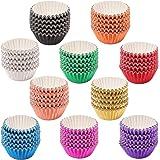 SUBANG 1000 Pieces Mini Tulip Cupcake Liner Baking Cups Muffin Tins Treat Cups Foil Metallic Cupcake Liners for Weddings,Birt