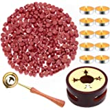 Red Wax for Letters Stamp Seals, Paxcoo 312pcs Stamp Wax Kit with Red Wax Seal Beads, Wax Seal Warmer, Wax Spoon and Tealight