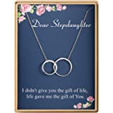 Stepdaughter Gift Necklace Delicate Two Interlocking Infinity Double Circles Sterling Silver Necklace for Women