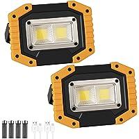 LED投光器,2パックCOB 30W 1500LM フラッドライト,3点灯モード、USB充電式、180°角度調整機能、防…