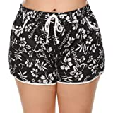IN'VOLAND Women's Plus Size Floral Print Beach Shorts with Pockets-Quick Dry Summer Swimmwear Shorts