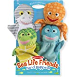 Melissa & Doug 9117 Sea Life Friends Hand Puppets, Puppet Sets, Shark, Dolphin, Sea Turtle, and Octopus, Soft Plush Material,