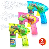 ArtCreativity Friction Powered Light Up Bubble Blaster Gun Set - Set of 3 - Includes 3 LED Bubbles Guns and 6 Bottles of Bubb