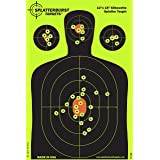 Splatterburst Targets - 12 x18 inch - Silhouette Reactive Shooting Target - Shots Burst Bright Fluorescent Yellow Upon Impact