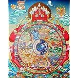 New Vintage Retro Metal Tin Sign Tibetan Buddhist Thangka Wheel of Life Religion Home Kitchen Bar Bedroom Living Room Wall De