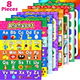 8 Educational Preschool Posters for Toddler and Kid Learning with 60 Glue Point Dot for Nursery Preschool Homeschool Kinderga