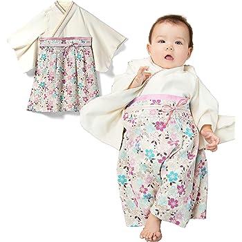 dafa8765264d0 Sweet Mommy 袴 ロンパース ベビー 着物 カバーオール 日本製和柄ちりめん オーガニックコットン身頃 オフホワイト 90