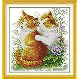 LovetheFamily クロスステッチキット DIY 手作り刺繍キット 正確な図柄印刷クロスステッチ 家庭刺繍装飾品 11CT ( インチ当たり11個の小さな格子)中程度の格子 刺しゅうキット フレームがない - 42×44 cm 猫のキス
