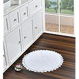 Amazon[ブランド] Umi(ウミ) バスルームラグマット|柔らかくてリバーシブルな吸水性バスラグ|バスカーペット耐久性のあるぬいぐるみラグ|簡単に掃除できるモダンなバスマット浴槽、シャワー、バスルーム用の洗濯機/乾燥機、60 Cmsラウンド、ホ