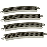 """Bachmann Trains - Snap-Fit E-Z Track 22"""" Radius Curved Track (4/Card) - Nickel Silver Rail with Gray Roadbed - HO Scale"""