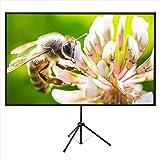 プロジェクタースクリーン80型4K解像度改良新版三脚式&壁掛け式 屋内屋外兼用 16:9 視野角160°