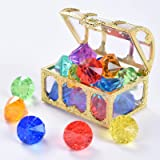 Juephe Diving Gem Pool Toy 12 Diamond Set with Treasure Pirate Box Summer Swimming Gem Pirate Diving Toys Underwater Toy for