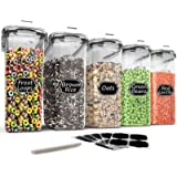 Large Cereal & Dry Food Storage Containers - Wildone 5 Pieces Airtight Cereal Storage Containers for Sugar, Flour, Snack, Bak