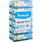 """[6 Flat Boxes] Finetouch Facial Tissues 130 Per Box 7.5\"""" X 7.1\"""" Size, Soft, Smooth, 2 Ply, Great For Home, Office, Store, S"""