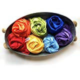 Melodie Naturals Rainbow Color Play Scarves- Vegan Playsilks - for Open-Ended Play, Creative Montessori and Waldorf Education