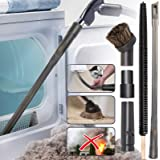 Holikme 5 Pack Dryer Cleaning Kit General Vacuum Hose Attachment Flexible and 28 inch Flexible Dryer Vent Cleaning Brush and