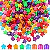 500 Pieces Colorful Pony Beads Star Pony Beads Barrel Shape Large Hole Acrylic Beads Bracelet Kawaii Rainbow Necklace Jewelry