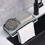 Yohom Kitchen Sink Tray Sponge Holder Organizer Kitchen Storage Organisation Dishcloth Scrubber Holder Soap Tray Countertop D