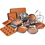 Gotham Steel 20 Piece All in One Kitchen Cookware + Bakeware Set with Non-Stick Ti-Cerama Copper Coating – Includes Skillets,