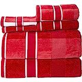 Lavish Home Red 100% Cotton Oakville Velour 6 Piece Towel Set