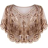 Vijiv Womens Vintage 1920s Shawl Beaded Sequin Deco Evening Cape Shrug Bolero Flapper Cover Up