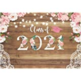 Funnytree 7x5ft Floral Graduation Party Backdrop Class of 2019 Flowers Wood Lace Rustic Photography Background Congrats Grad