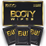 BOOTY WIPES for Men - Flushable Wet Wipes for Adults Unscented, Individually Wrapped Travel Wipes, Disposable Man Wipes with