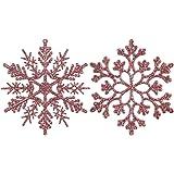 Sea Team Plastic Christmas Glitter Snowflake Ornaments Christmas Tree Decorations, 4-inch, Set of 36, Rose Gold