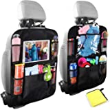 Car Backseat Organizers,Kick Mats with 5pcs Storage Pockets+1pc 10inch Touch Screen Tablet Holder,Car Seat Back Protectors fo