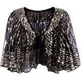 VIJIV 1920s Vintage Style Cape Jacket Embellished Bridal Shawl Capelet Flapper Bolero Cover Up Gatsby Party