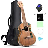 Hricane Ukulele Concert 23 inch Koa Solid Wood Professional Ukulele with Gig Bag Ukulele String Set