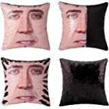 Merrycolor Mermaid Pillow Cover, Nicolas Cage Pillow Case Magic Reversible Sequin Pillow Cover Decorative Throw Cushion Case