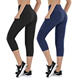 HOFI High Waist Capri Leggings with Pockets for Women Tummy Control Sports Yoga Pants Special Line Design, Pack of 2
