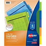 Avery 5-Tab Plastic Binder Dividers, Insertable Multicolor Big Tabs, 1 Set (11900)